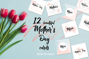 12 Greeting cards Happy Mother's Day