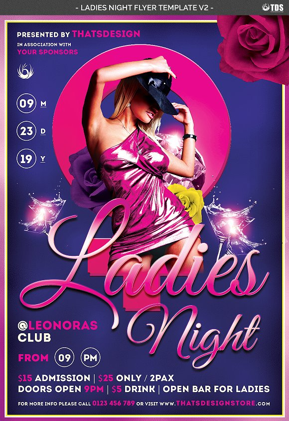 Ladies Night Flyer Template V2 Flyer Templates Creative Market