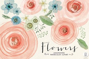 Watercolor flowers, ranunculus, rose