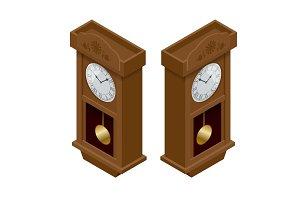 Pendulum clock. Elegant roman numeral clock. Elegant antique clo