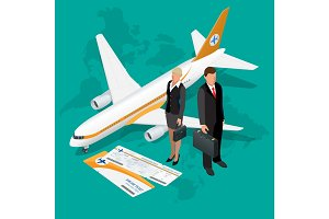 Business travel isometric composition