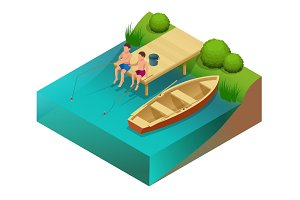 Little boys fishing in a river. Sitting on a wood pontoon. Flat