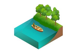 Fishing concept. Man fishing on a lake from the boat. Fisherman