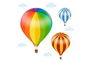 Hot air balloon in the sky with clouds. Flat 3d vector isometric