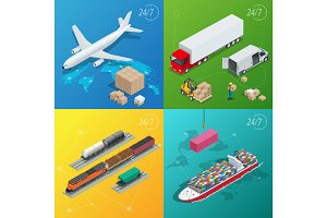 Flat style vector illustration delivery service concept. International delivery and worldwide postage. On-time delivery. Emailing and online shopping. Flat 3d isometric vector illustration