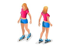 Roller Skating girl. Full length portrait a smiling girl on rollers skating isolated on white background. Flat 3d vector isometric illustration.