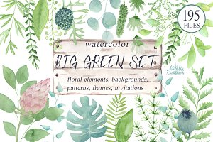 Big green set in watercolor.