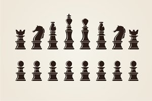 Chess silhouettes
