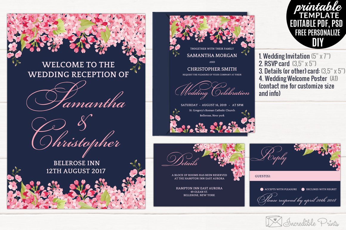 Pink And Navy Blue Wedding Invitations: Navy And Pink Wedding Invitation Set