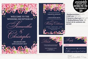 Navy and Pink Wedding Invitation Set