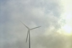 Windturbines in the fog