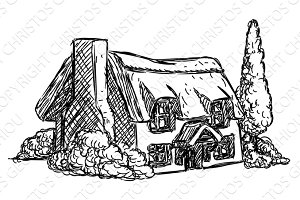 Farm Cottage House Retro Grunge Hand Drawn Style