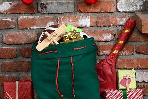 Santa Claus Bag on Hearth