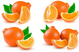 orange tangerine or Mineola with slices isolated on white background. Set or collection