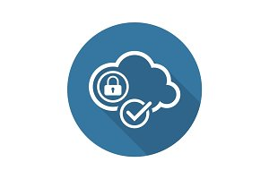 Cloud Security Icon. Flat Design.