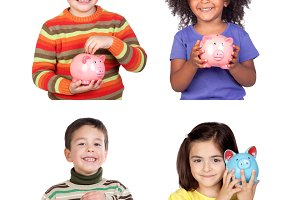 Four children with moneybox
