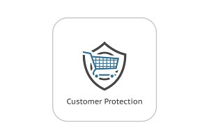 Customer Protection Icon. Flat Design.