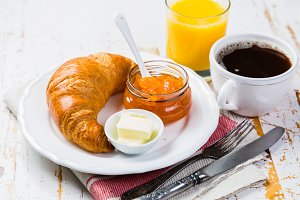 Breakfast - croissants, coffee, juice