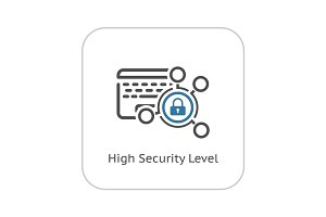 High Security Level Icon. Flat Design.