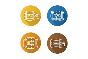 Alcohol wooden barrels flat linear long shadow icons set