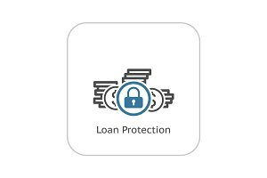 Loan Protection Icon. Flat Design.