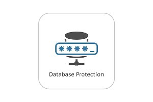 Database Protection Icon. Flat Design.