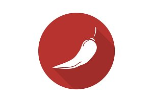 Red hot chili pepper. Flat design long shadow icon