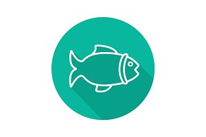 Fish flat linear long shadow icon