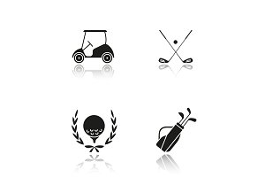 Golf championship drop shadow black icons set