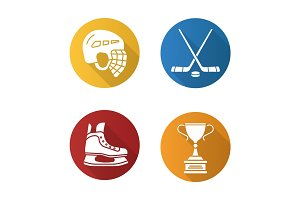 Hockey equipment flat design long shadow icons set