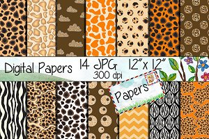Safari Kraft Digital Paper