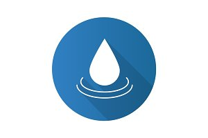 Water drop flat design long shadow icon