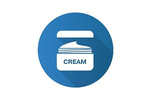 Face cream jar flat design long shadow icon