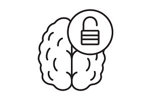 Brain resources revelation linear icon