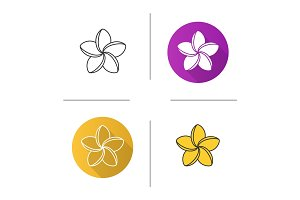 Spa salon plumeria flower icon