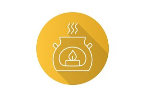 Spa salon aroma candle. Flat linear long shadow icon