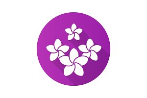 Spa salon plumeria flowers. Flat design long shadow icon