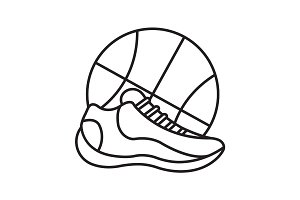 Basketball shoe and ball linear icon