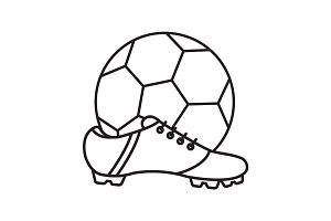 Soccer boot and ball linear icon