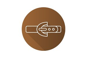 Leather belt flat linear long shadow icon