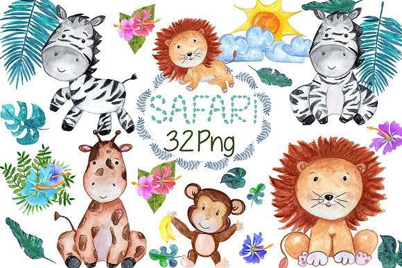 Watercolour Safari Animals Clip Art