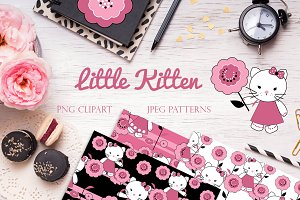 LITTLE KITTEN clipart & patters set