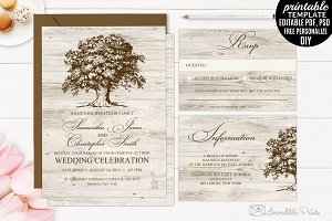 Old Oak Wedding Invitation Set