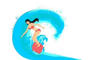 Surfer girl on surfboard