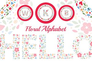 Floral Alphabet Letters and Monogram