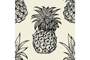 pineapples hand drawn sketch