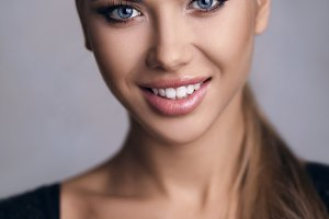 Beautiful woman with cheerful smile