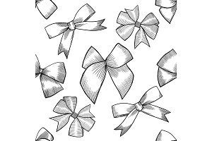 Seamless pattern with tie and bow