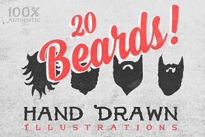 20 Hand Drawn Beards