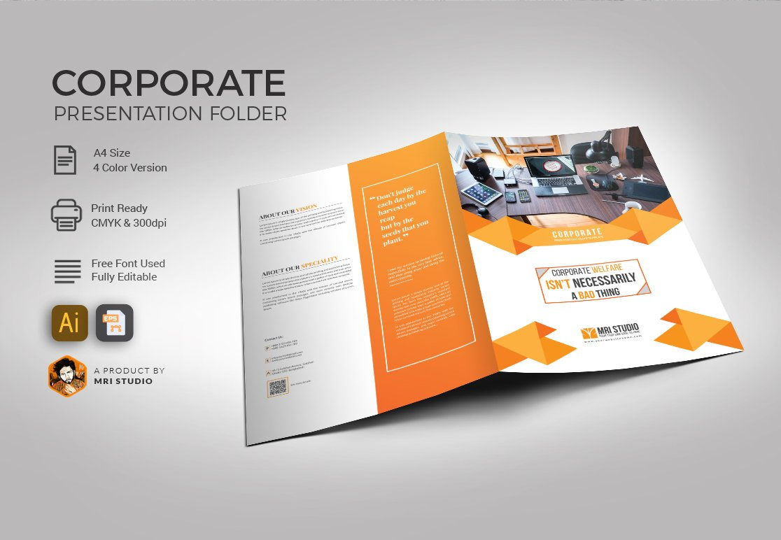 corporate folder template stationery templates creative market. Black Bedroom Furniture Sets. Home Design Ideas